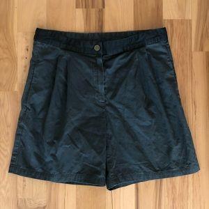 Lanvin green flat-front shorts